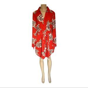 NWT Urban Heritage Poppy Red Floral Shirt Midi Dress